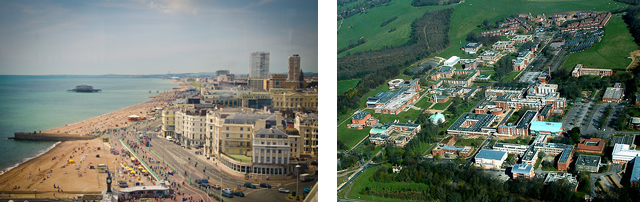 On the left: Brighton / On the right: University of Sussex