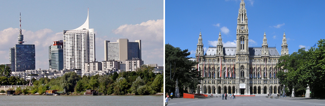 On the left: «Vienna» / On the right: «Vienna, City Hall»