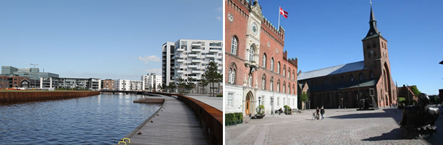 On the left: «Odense, Inner Harbour» / On the right: «Odense City Hall and Domkirke»